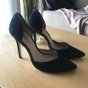 Zara Black Suede D'orsay Heels